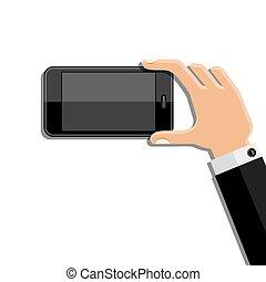 beweglich, telefon., halten hände