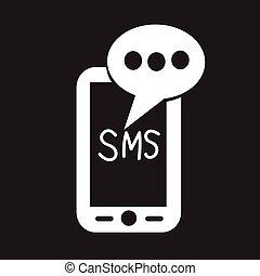 beweglich, text, sms, post, nachricht, ikone
