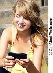 beweglich, texting, mobilfunk, teenager, oder