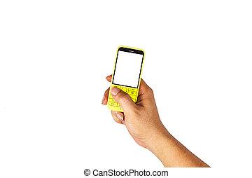 beweglich, version, von, der, gelber , press., auf, a, weißes, hintergrund.