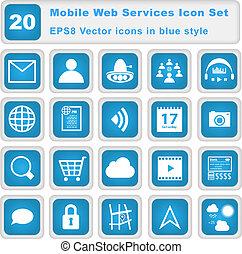 beweglich, web, dienstleistungen, ikone, satz