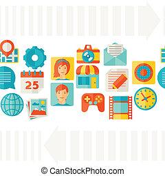 beweglich, web, seamless, icons., muster
