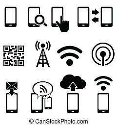 beweglich, wifi, satz, ikone