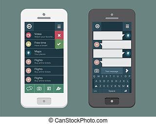 beweglich, wohnung, schnittstelle, benutzer, telefon