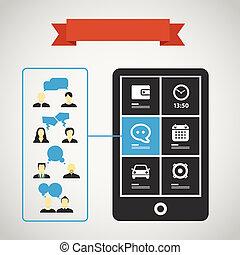 bewegliche kommunikation, silhouetten, modern, telefon