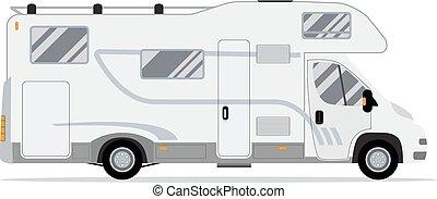 bewegliches heim, campingbus, truck.