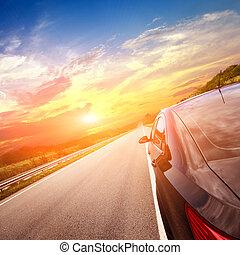 Bewegung, Auto, Straße, hintergrund, verwischen