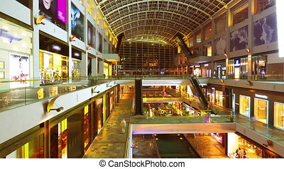 bewegung, einkaufszentrum, timelapse, shoppen