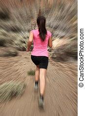 bewegung, frau, läufer, -, rennender