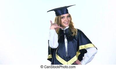 bewegung, graduate., langsam, white., schäkerei