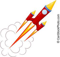bewegung, illust, freigestellt, vektor, hintergrund., rote rakete, weißes