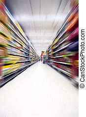 bewegung, in, supermarkt