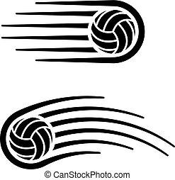 bewegung, linie, kugel, symbol, volleyball