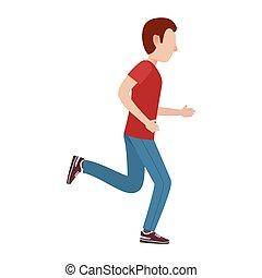 bewegung, mann, zeichen, karikatur, abbildung