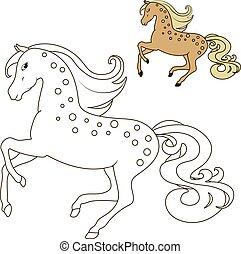 bewegung, pferd, farbton- buch, kinder