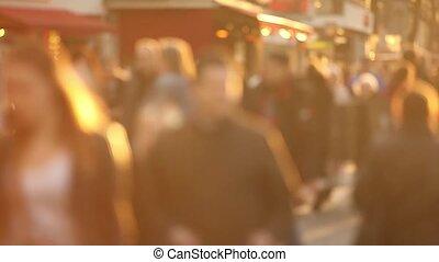 bewegung, stadt, langsam, crowd, groß