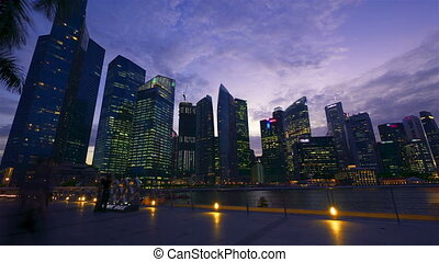 bewegung, timelapse, nacht, singapur