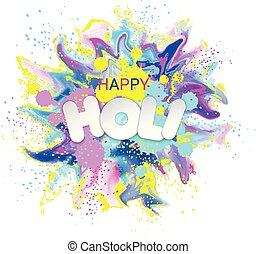 bewegung, watercolor., explosion, card., bunte, fest, flüssiglkeit, hindu, fluid., rangpanchami, spritzer, tinte, pulver, holi, textured, dhulandi, banner, staub, lancierte, glücklich