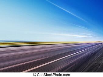 bewegungszittern, auf, geschwindigkeit, straße