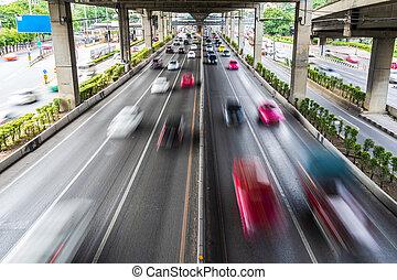bewegungszittern, von, auto, straße, stadt