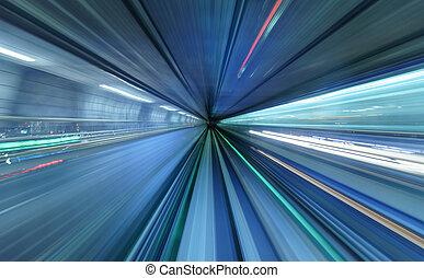 bewegungszittern, von, zug, bewegen, innenseite, tunnel, in, tokyo, japan