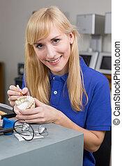 bewerben, dental, präparator, form, porzellan, dentition