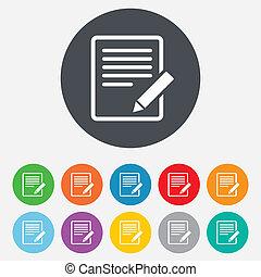 bewerken, button., meldingsbord, inhoud, icon., document