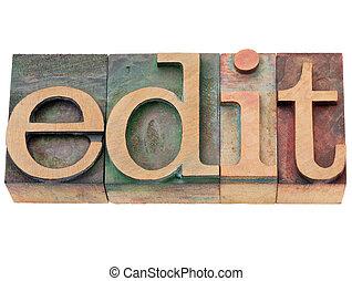 bewerken, -, woord, in, letterpress, type