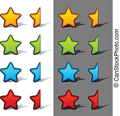bewertung, vektor, sternen, hälfte, schatten, ganz