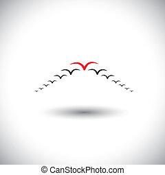 bewindvoering, concept, vector, -, vogels te vliegen,...
