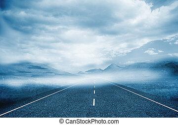 bewolkt, landscape, achtergrond, met, straat