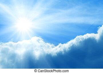 bewolkt, stormachtige hemel, met, zon