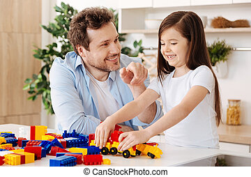 bewondering, zijn, dochter, vader, het kijken, vrolijke