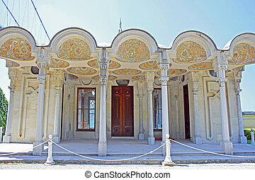 Beylerbeyi Palace on the bank of Bosphorus strait in Istanbul, Turkey