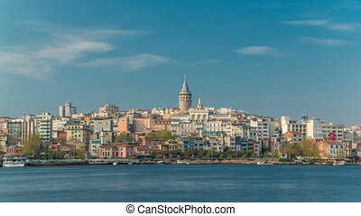 Beyoglu district historic architecture and Galata tower medieval landmark timelapse in Istanbul, Turkey