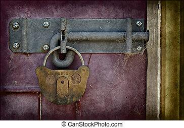 bezárt, öreg, ajtó