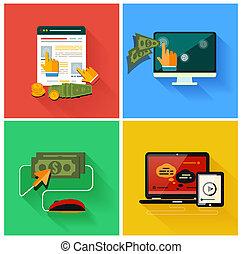 bezahlung, pro, klicken, internet, werbung, modell