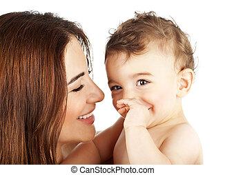 bezaubernd, baby- junge, lächeln, mit, mutter