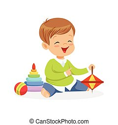 bezaubernd, glücklich, kleiner junge, sitzen boden, spielen spielzeugen, bunte, zeichen, vektor, abbildung
