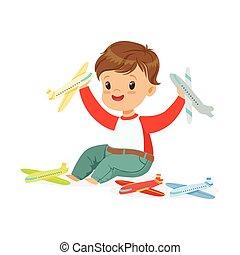 bezaubernd, glücklich, kleiner junge, sitzen boden, spielende , mit, spielen flugzeuge, bunte, zeichen, vektor, abbildung