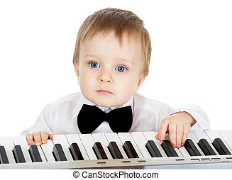 bezaubernd, klavier, elektronisch, spielende , kind
