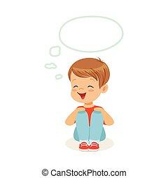 bezaubernd, kleiner junge, träumende, mit, a, gedankenblase, sitzen boden, kinder, einbildungskraft, und, fantasie, bunte, zeichen, vektor, abbildung