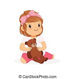 bezaubernd, kleines mädchen, spielende , mit, teddybär, bunte, zeichen, vektor, abbildung