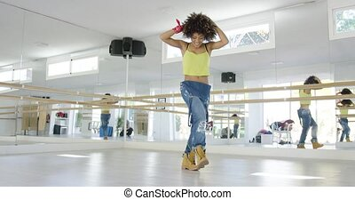 bezaubernd, m�dchen, tanzen, amerikanische , studio, ...