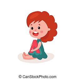 bezaubernd, rothaarige, kleines mädchen, sitzen boden, spielende , mit, brief, kind, lernen, durch, spaß, und, spielen, bunte, karikatur, vektor, abbildung