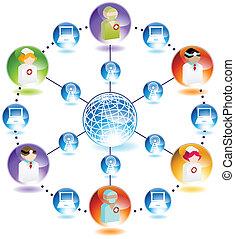 bezdrátový, lékařský, síť, internet