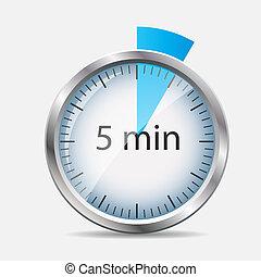bezeichnung, uhr, abbildung, vektor, 5, minutes., silber