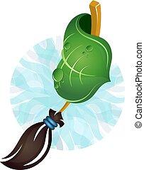 bezem, en, groen blad, voor, poetsen