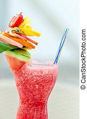 bezig met vernieuwen, zomer, drank, met, aardbeien