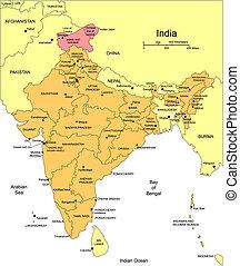 bezirke, indien, administrativ, umgeben, länder